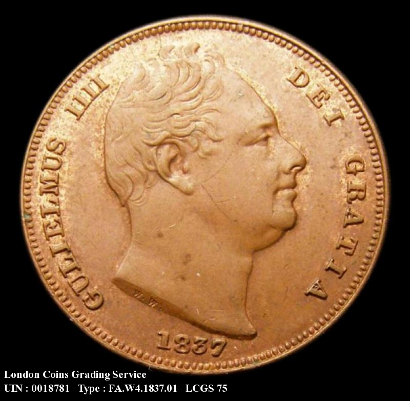 Farthing 1837 William IV. Standard type - Obverse