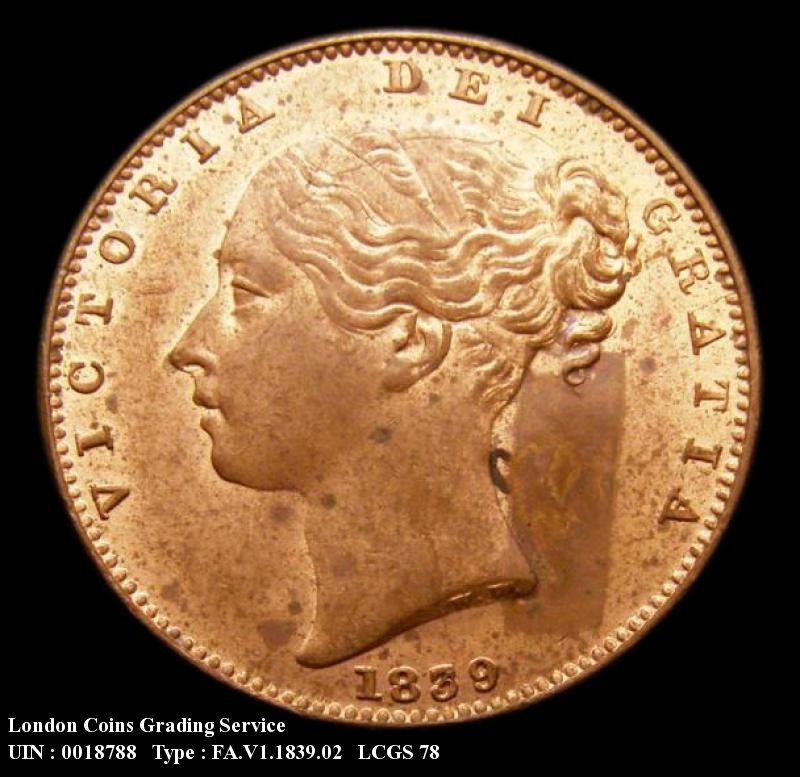 Farthing 1839 Victoria. FID.DEF - Obverse