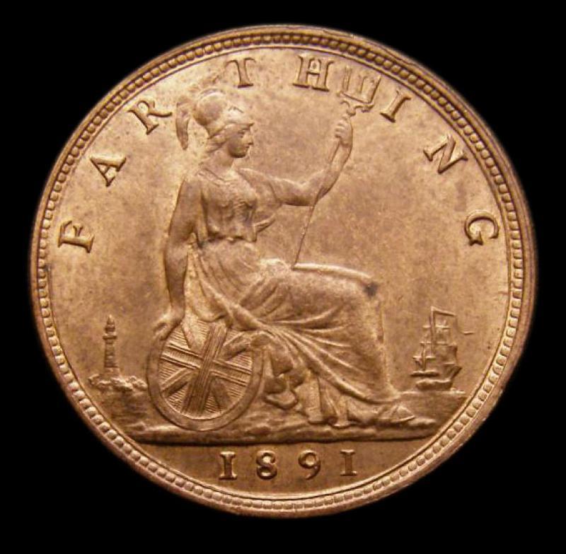 Farthing 1891 Victoria. Dies 7+F - Reverse