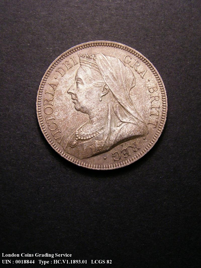 Halfcrown 1893 Victoria. Dies 1+A. First I of VICTORIA to space. Small design with long border teeth. - Obverse