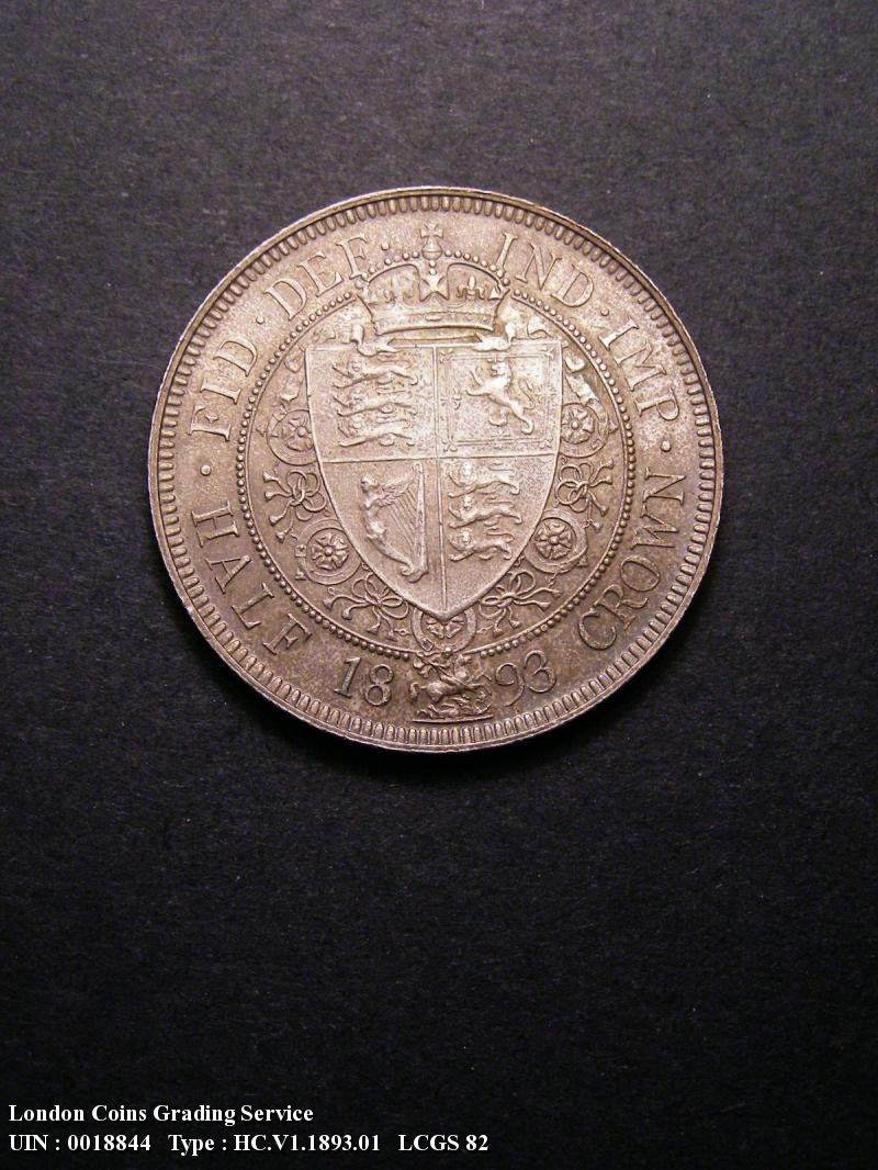 Halfcrown 1893 Victoria. Dies 1+A. First I of VICTORIA to space. Small design with long border teeth. - Reverse