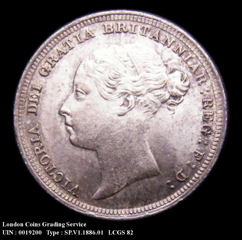 Sixpence 1886 Victoria. Standard type - Obverse