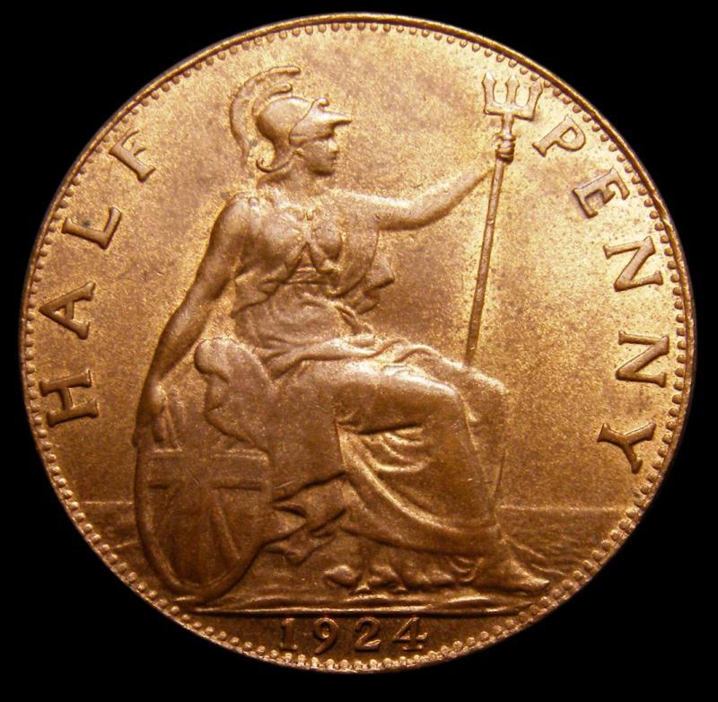 Halfpenny 1924 George V. Dies 1+A - Reverse