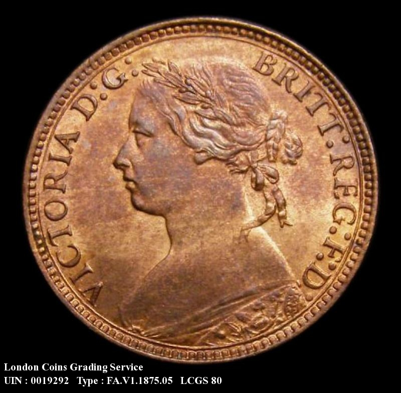 Farthing 1875 Victoria. H 4 Berries Small Date RF.G - Obverse