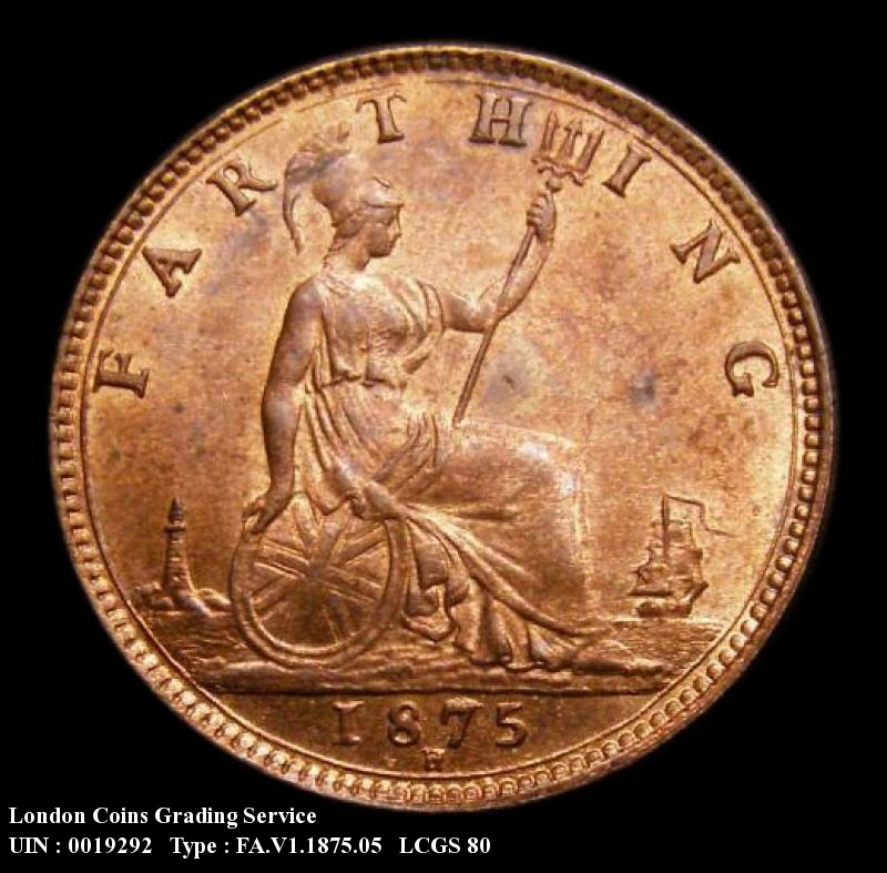 Farthing 1875 Victoria. H 4 Berries Small Date RF.G - Reverse