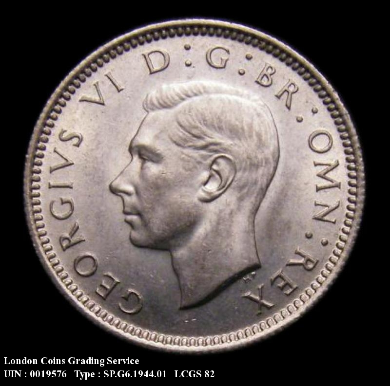 Sixpence 1944 George VI. Standard type - Obverse