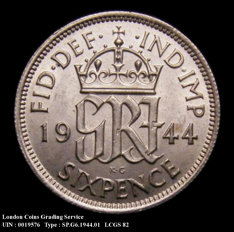 Sixpence 1944 George VI. Standard type - Reverse