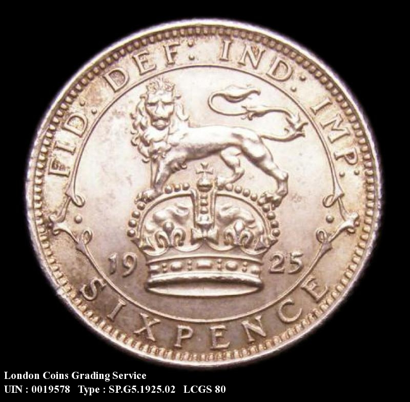 Sixpence 1925 George V. New Broader Rim  Lions tail almost touches inner circle near I of IMP. - Reverse