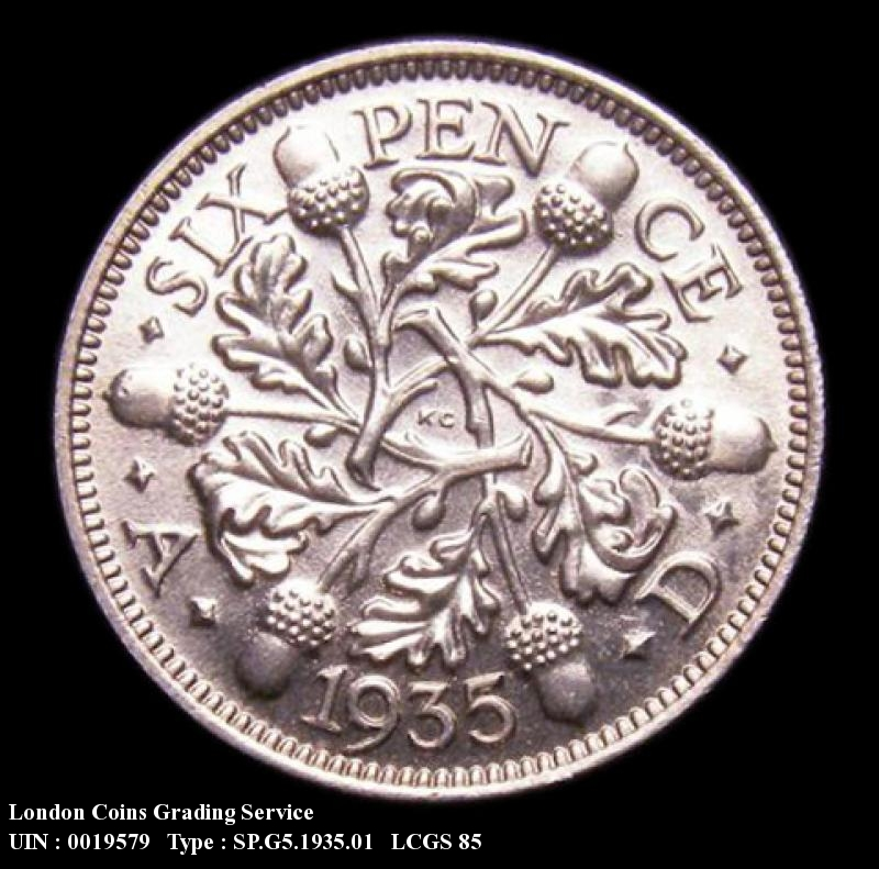 Sixpence 1935 George V. Standard type - Reverse
