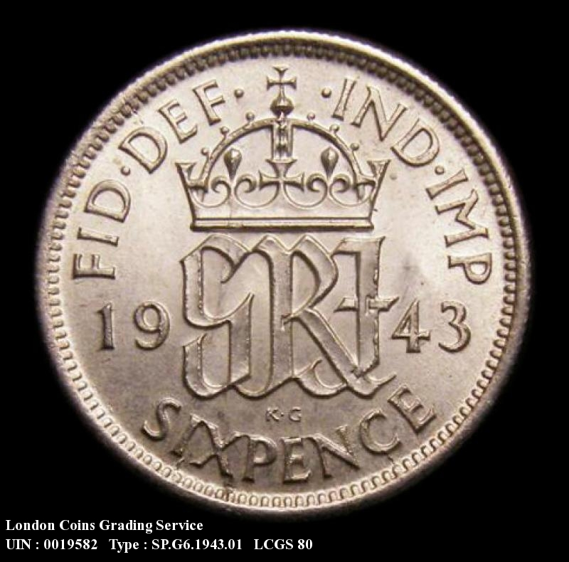 Sixpence 1943 George VI. Standard type - Reverse