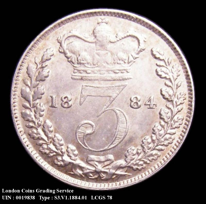 Silver 3d 1884 Victoria. Standard type - Reverse