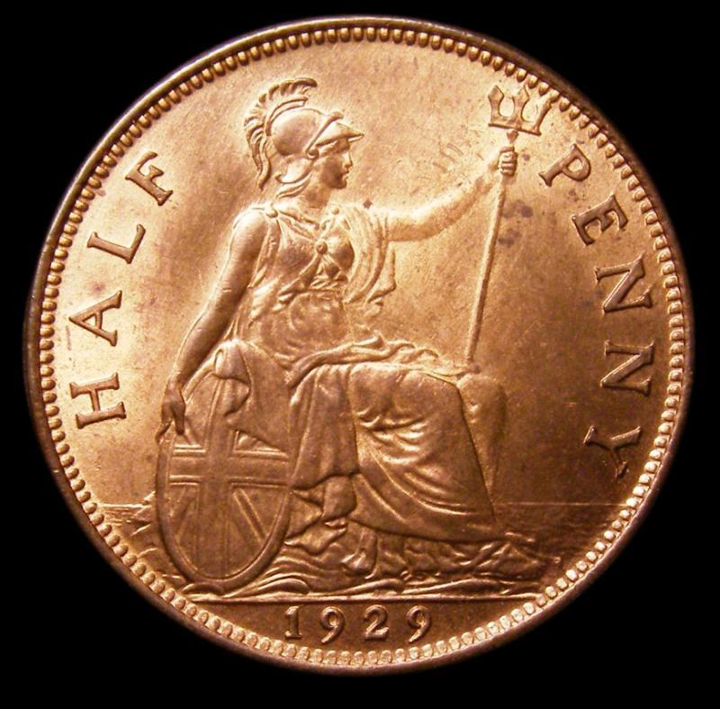 Halfpenny 1929 George V. Dies 3+B - Reverse
