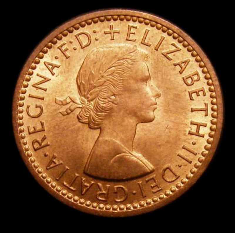 Farthing 1955 Elizabeth II. Dies 3+D - Obverse