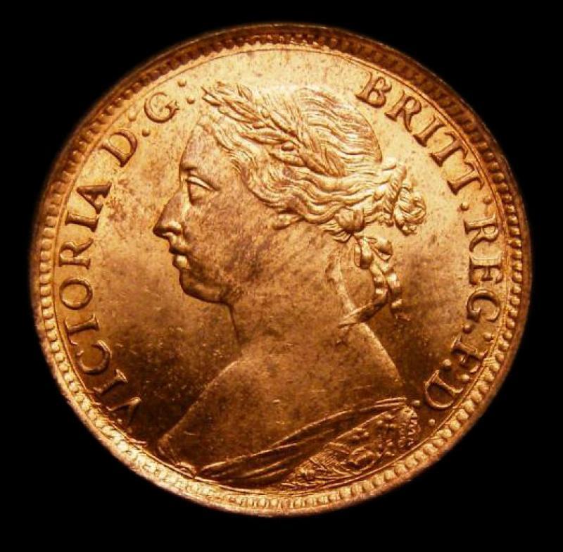 Farthing 1887 Victoria. Dies 7+F - Obverse