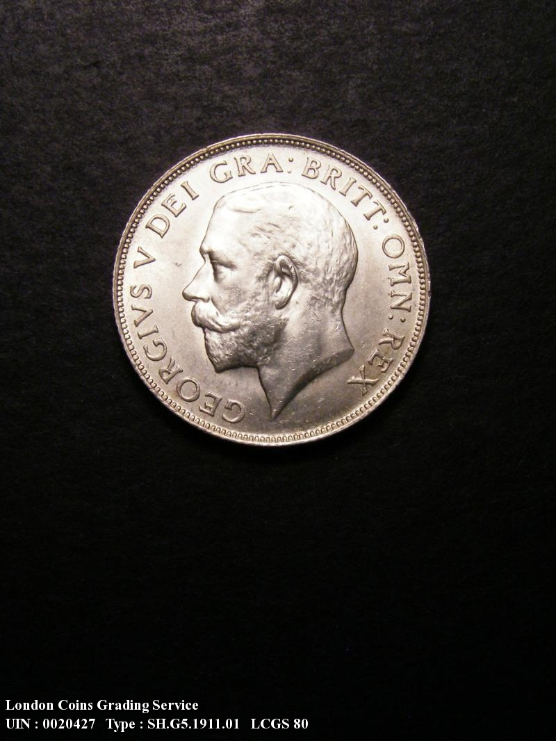 Shilling 1911 George V. dies 1A Obv I of GEORGIVS to space shallow neck - Obverse
