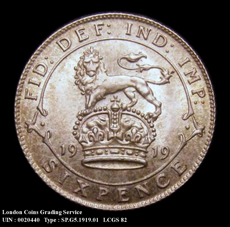 Sixpence 1919 George V. Standard type - Reverse