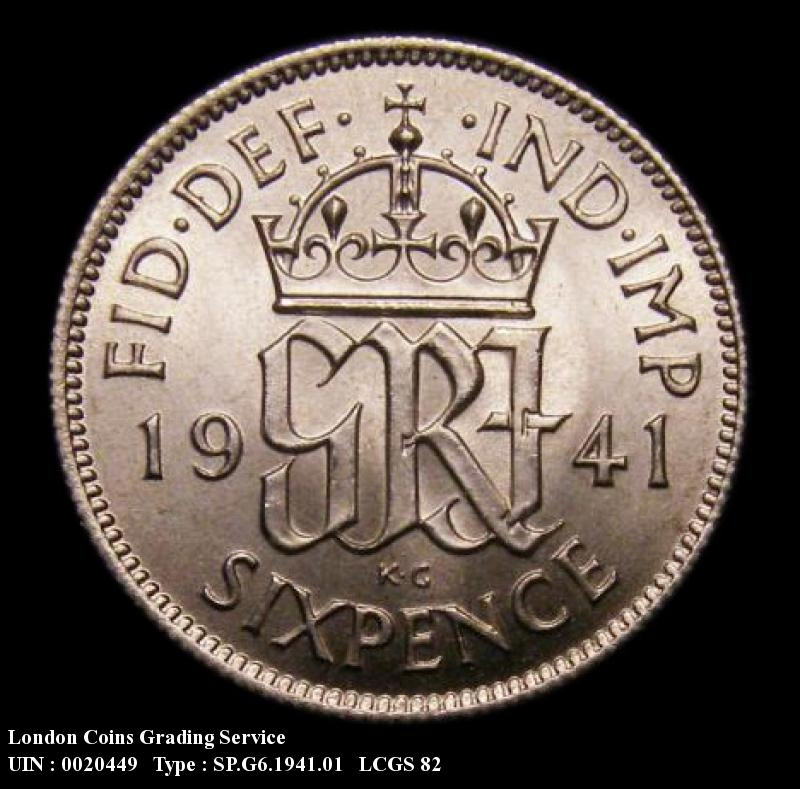 Sixpence 1941 George VI. Standard type - Reverse