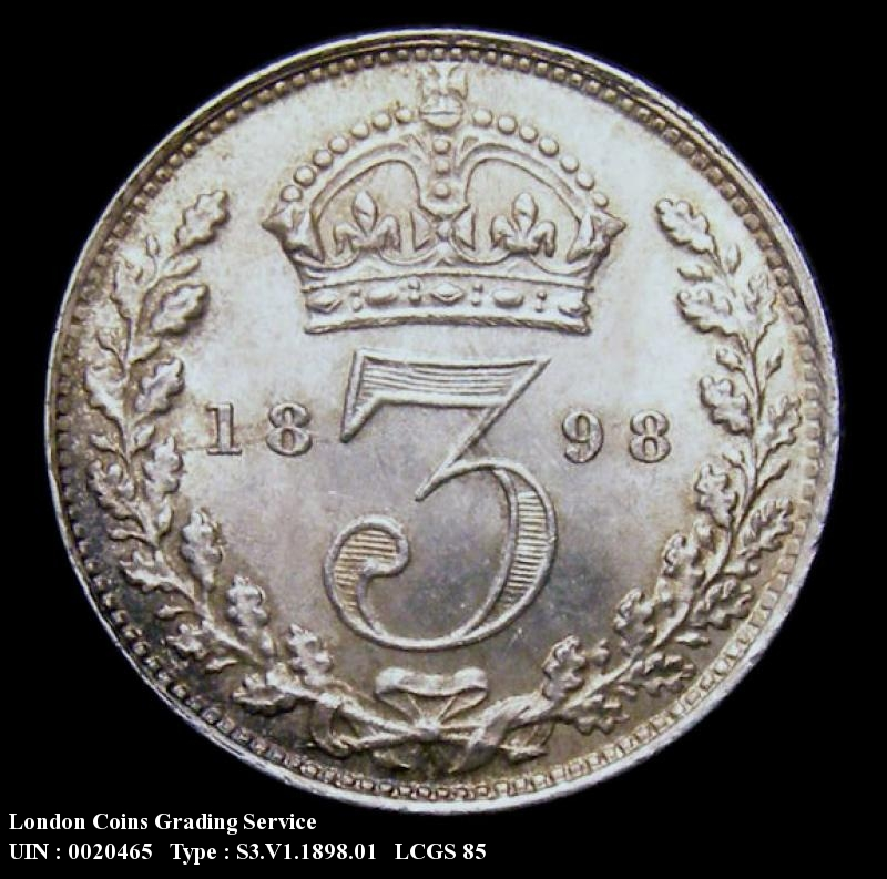 Silver 3d 1898 Victoria. Standard type - Reverse