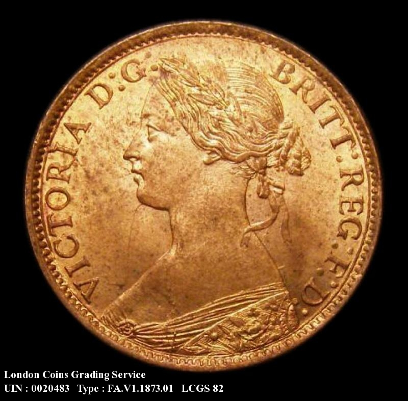 Farthing 1873 Victoria. High 3 in date Dies 3+B (Note: 3 clear of linear circle) - Obverse