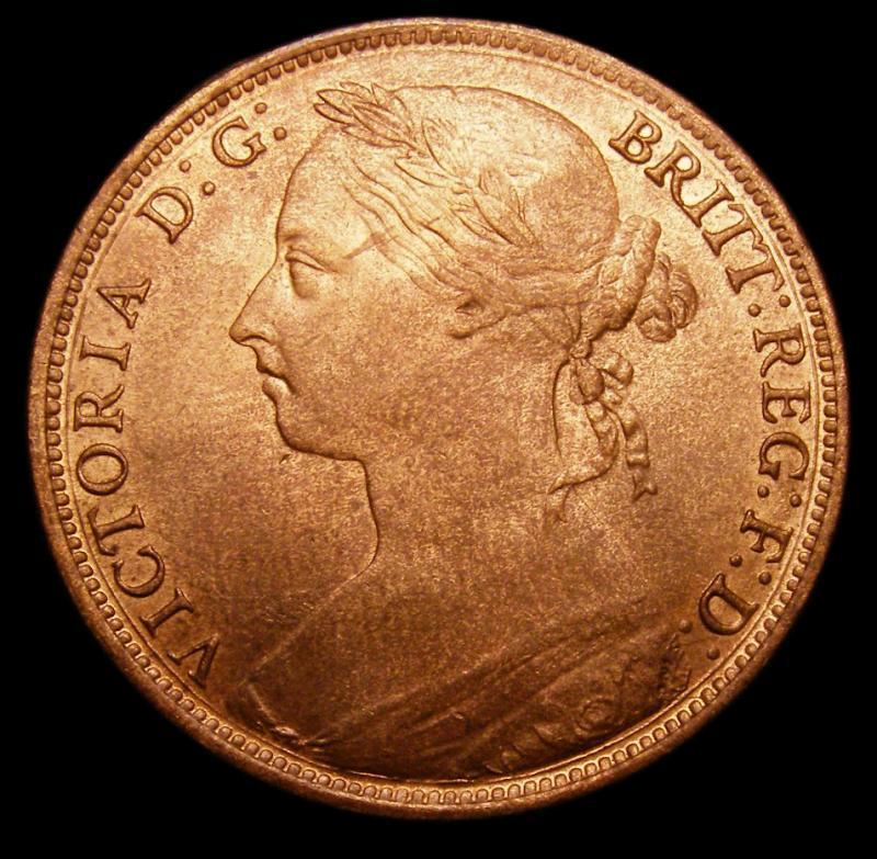 Penny 1887 Victoria. Dies 12+N - Obverse