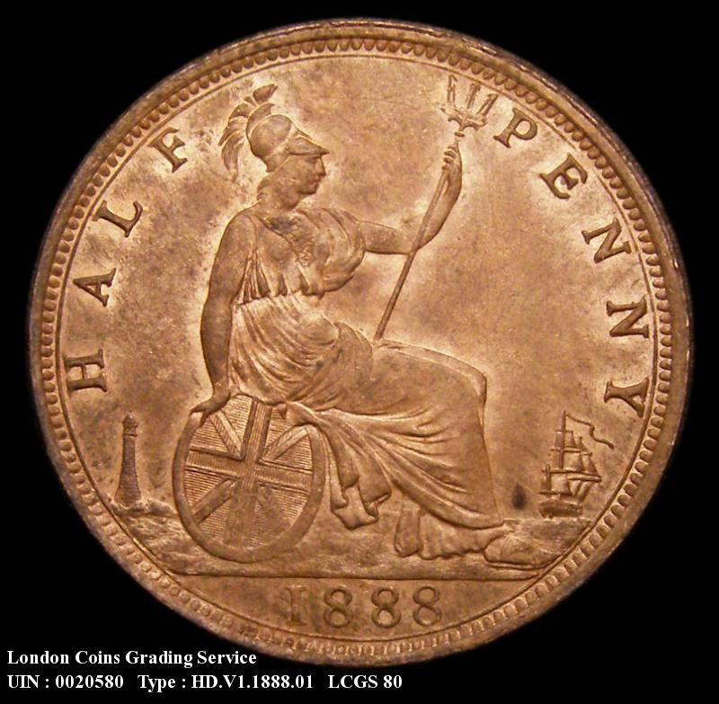 Halfpenny 1888 Victoria. Dies 17+S - Reverse