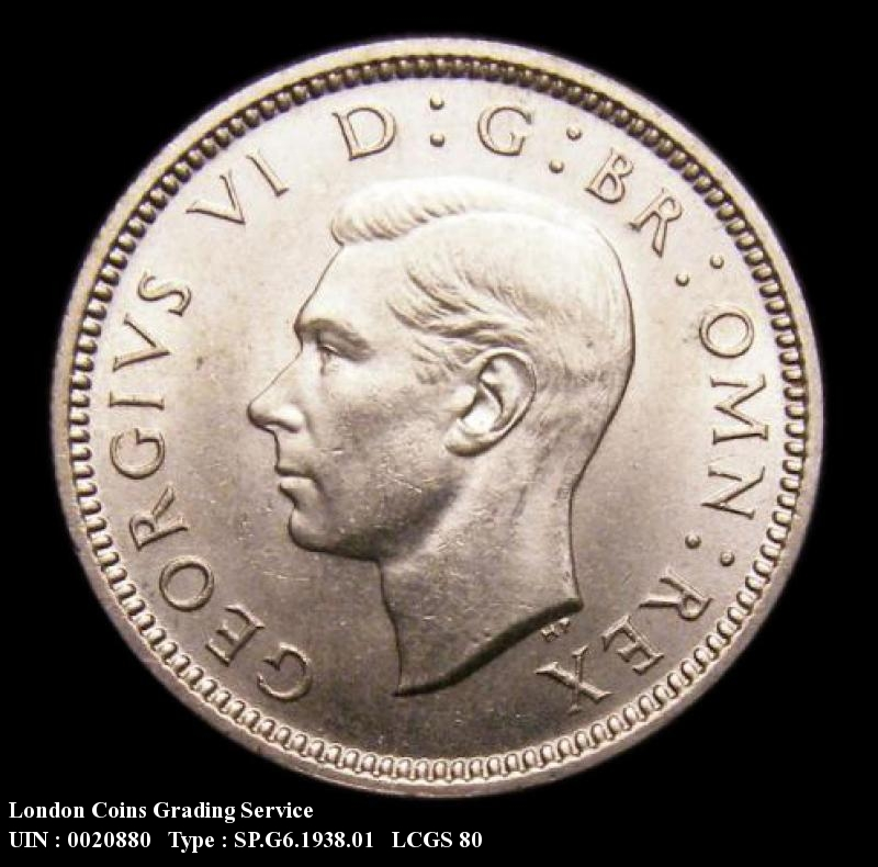 Sixpence 1938 George VI. Standard type - Obverse