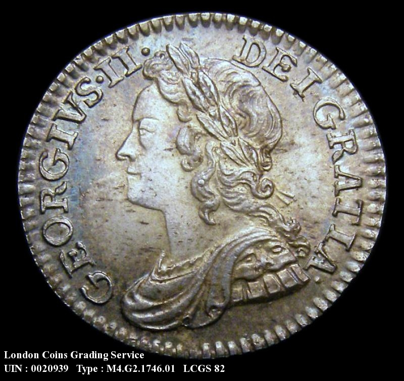 Maundy 4d 1746 George II. Standard type - Obverse
