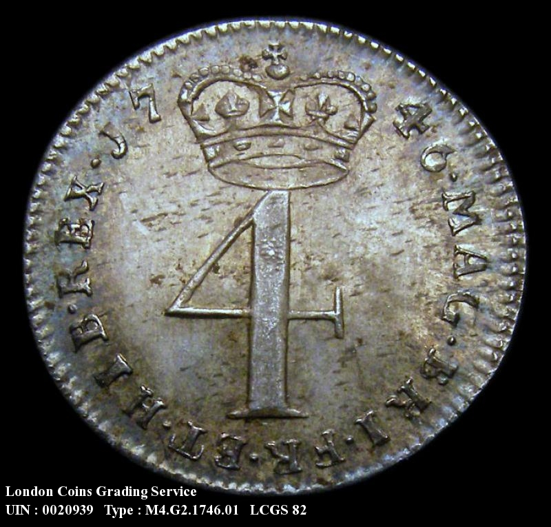 Maundy 4d 1746 George II. Standard type - Reverse