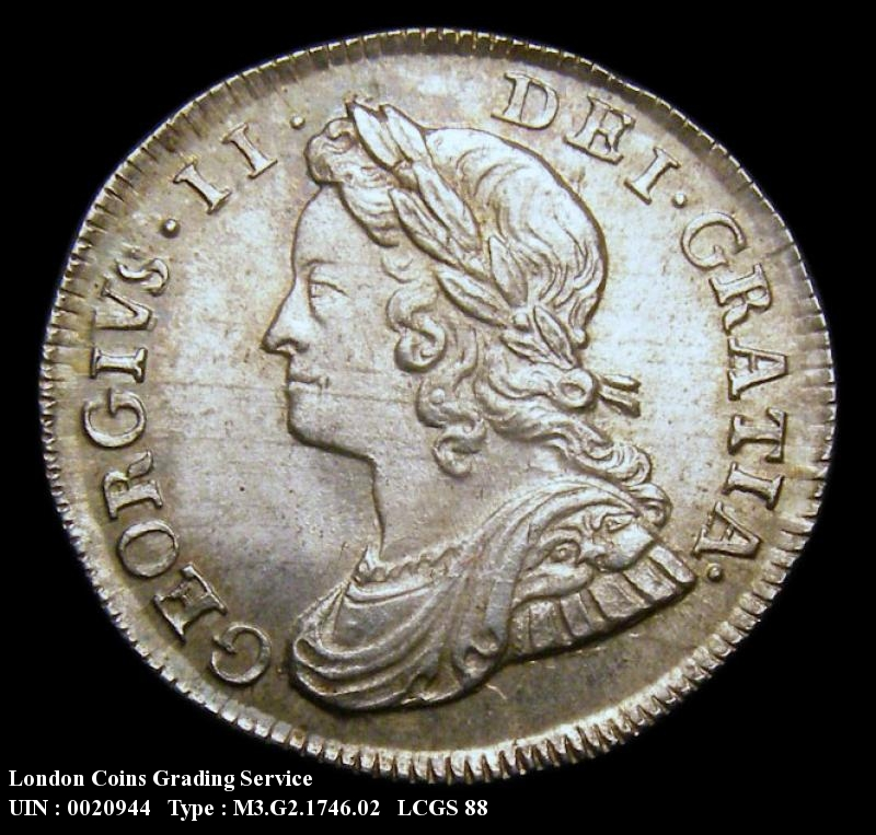 Maundy 3d 1746 George II. 6 over 3 - Obverse