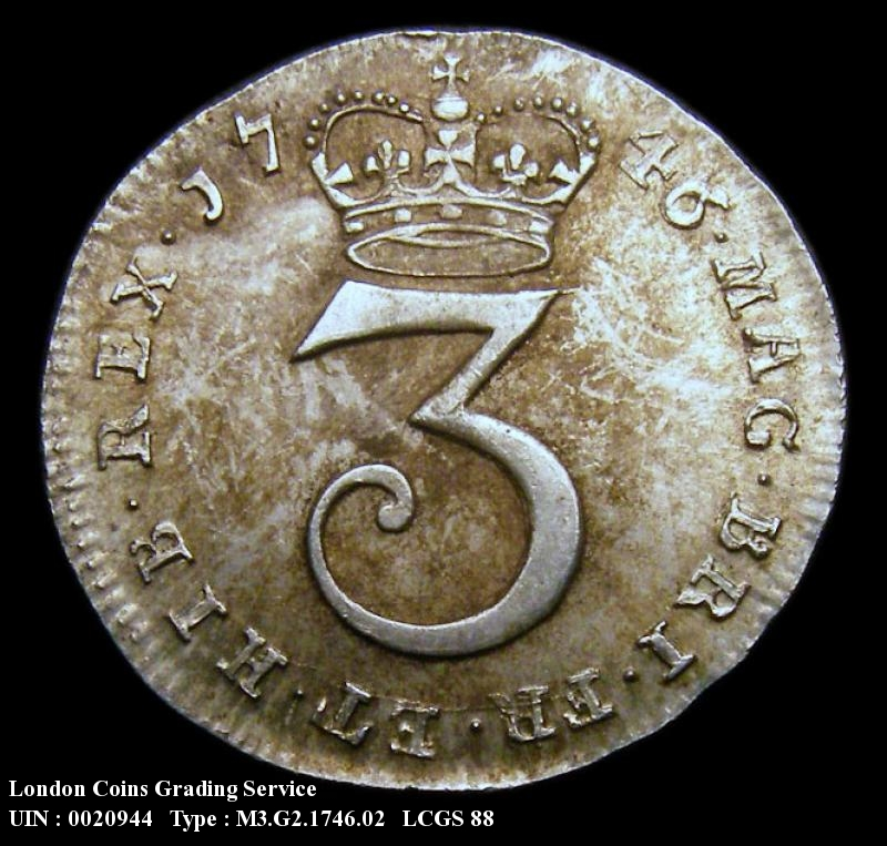 Maundy 3d 1746 George II. 6 over 3 - Reverse