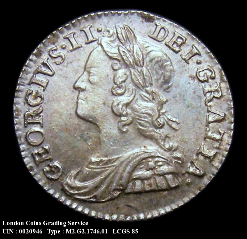 Maundy 2d 1746 George II. Standard type - Obverse