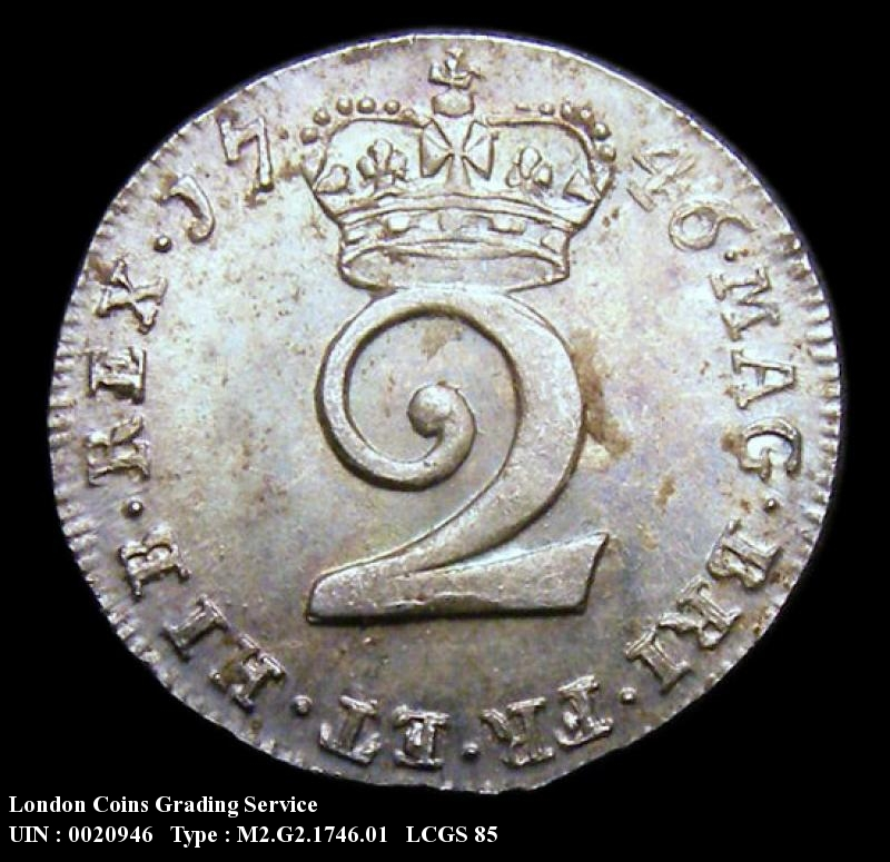 Maundy 2d 1746 George II. Standard type - Reverse