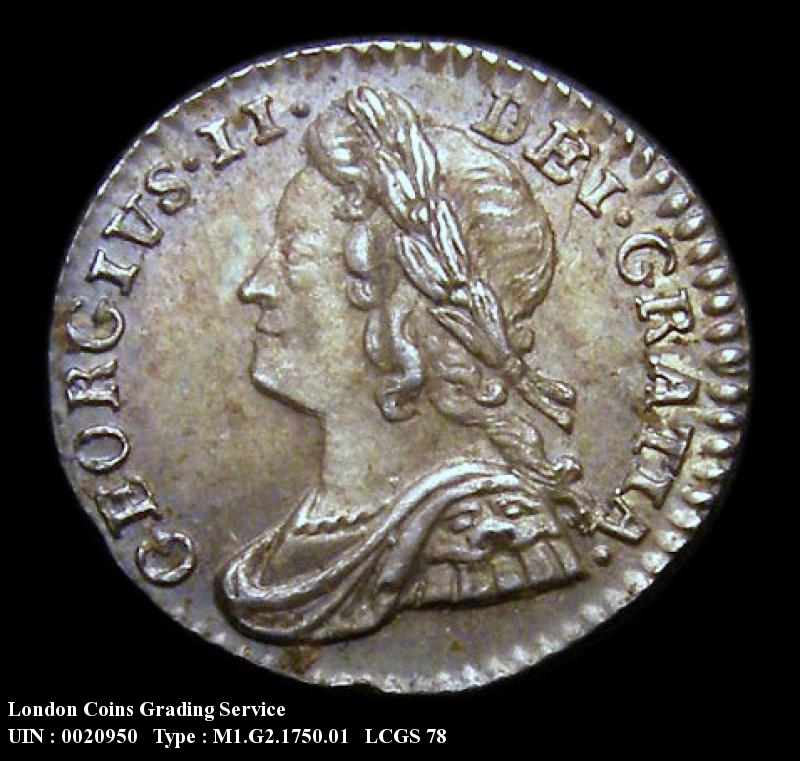 Maundy 1d 1750 George II. Standard type - Obverse