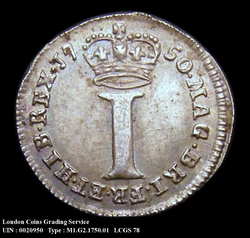 Maundy 1d 1750 George II. Standard type - Reverse