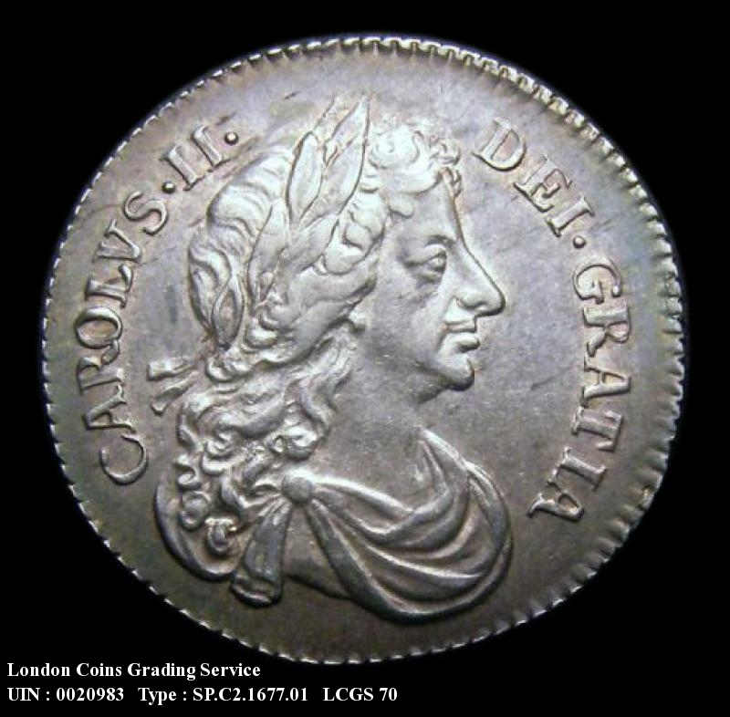 Sixpence 1677 Charles II. Standard type - Obverse