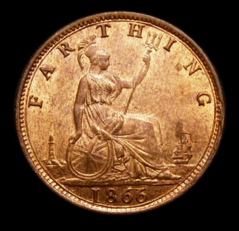 Farthing 1866 Victoria. Wide 66. Dies 3+B. - Reverse