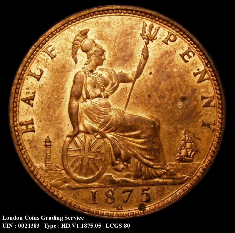Halfpenny 1875 Victoria. H. Obverse 13, Reverse K* Bronze Proof - Reverse
