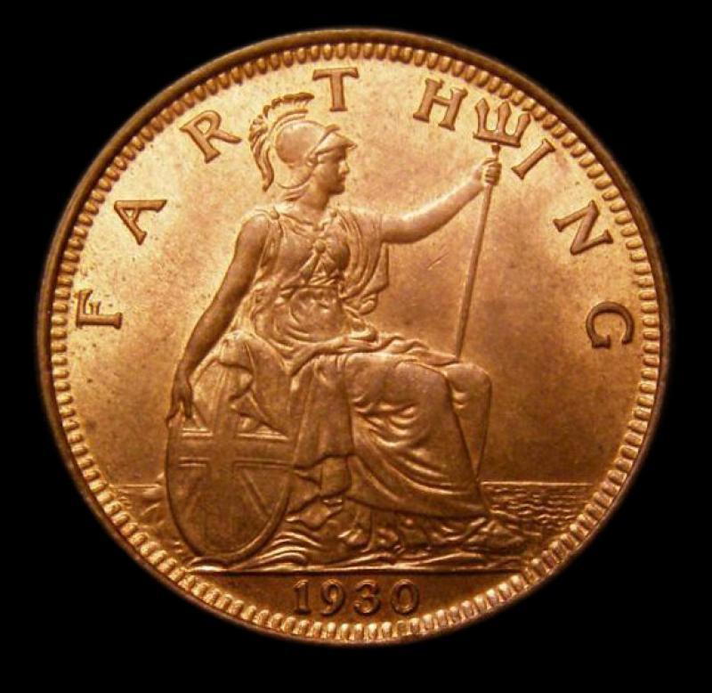 Farthing 1930 George V. Dies 3+B - Reverse