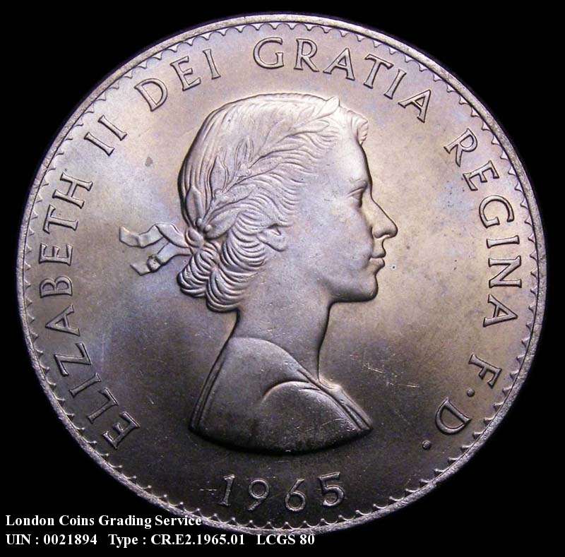 Crown 1965 Elizabeth II. Dies 1A Thick formed CH - Obverse