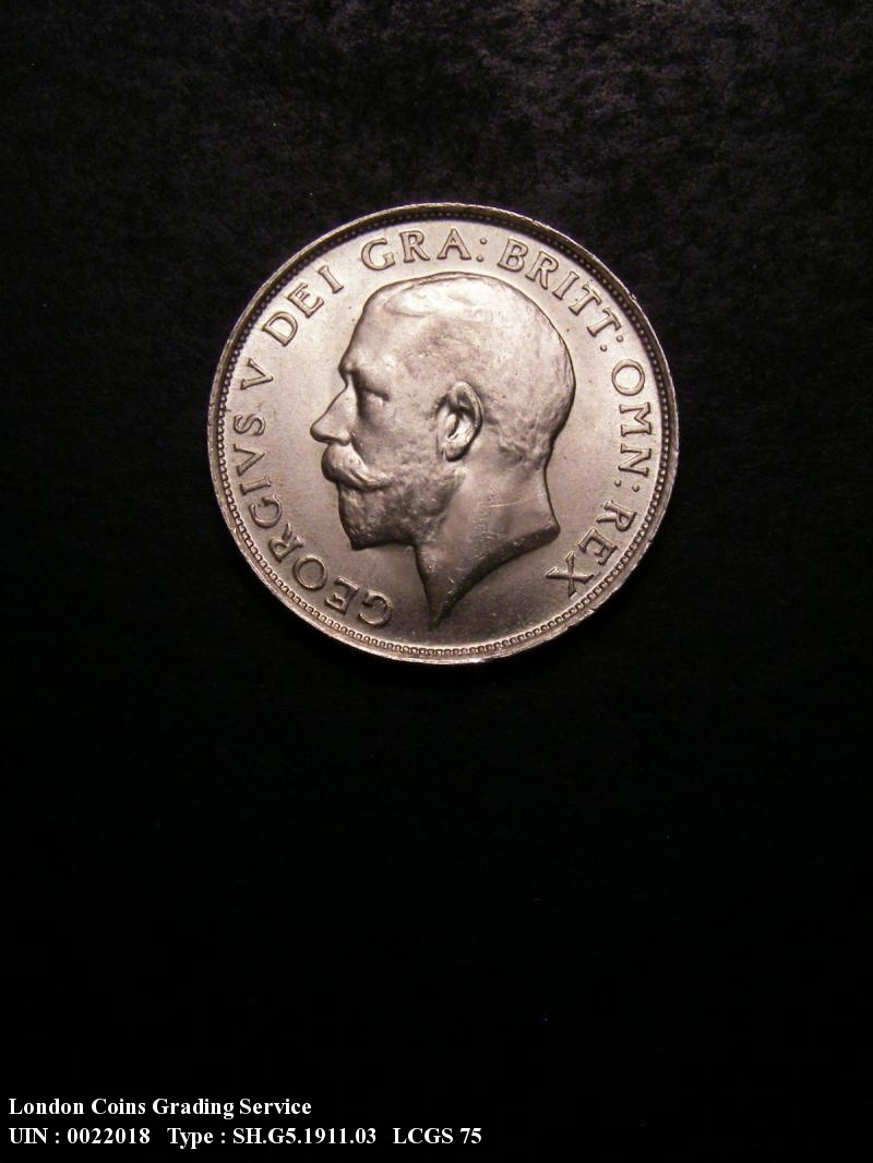 Shilling 1911 George V. dies 2A. Obverse: I of GEORGIVS to bead  shallow neck - Obverse