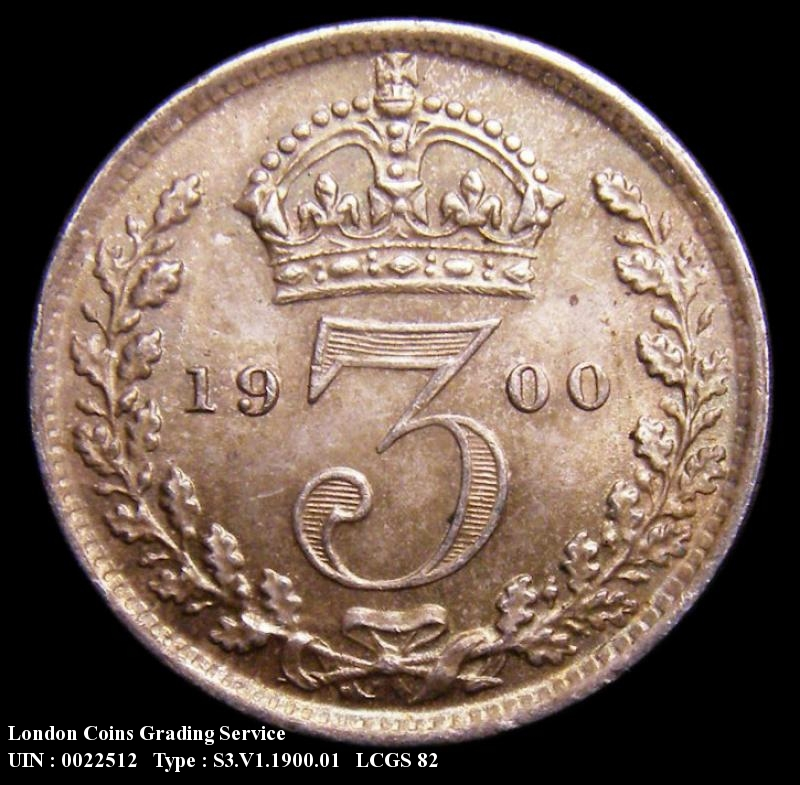 Silver 3d 1900 Victoria. Standard type - Reverse