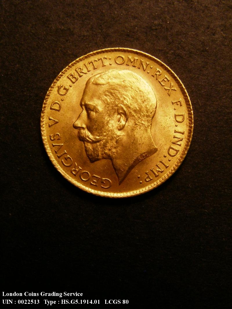 Gold ½ Sovereign 1914 George V. London Mint - Obverse
