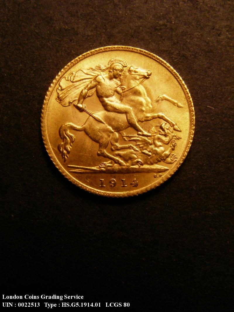 Gold ½ Sovereign 1914 George V. London Mint - Reverse