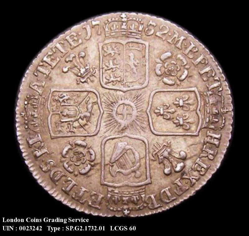 Sixpence 1732 George II. Roses and Plumes - Reverse