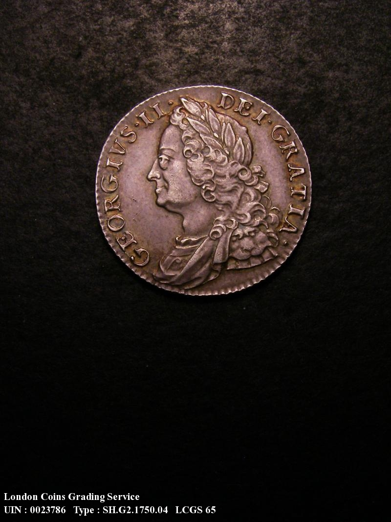 Shilling 1750 George II. Wide 0 in date.