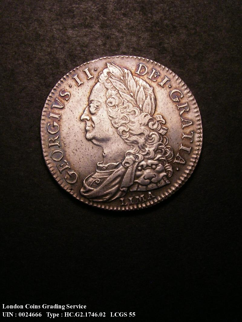 Halfcrown 1746 George II. LIMA 6 over 5 - Obverse