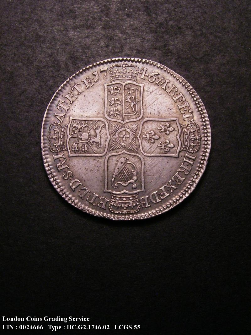 Halfcrown 1746 George II. LIMA 6 over 5 - Reverse