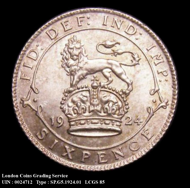 Sixpence 1924 George V. Standard type - Reverse