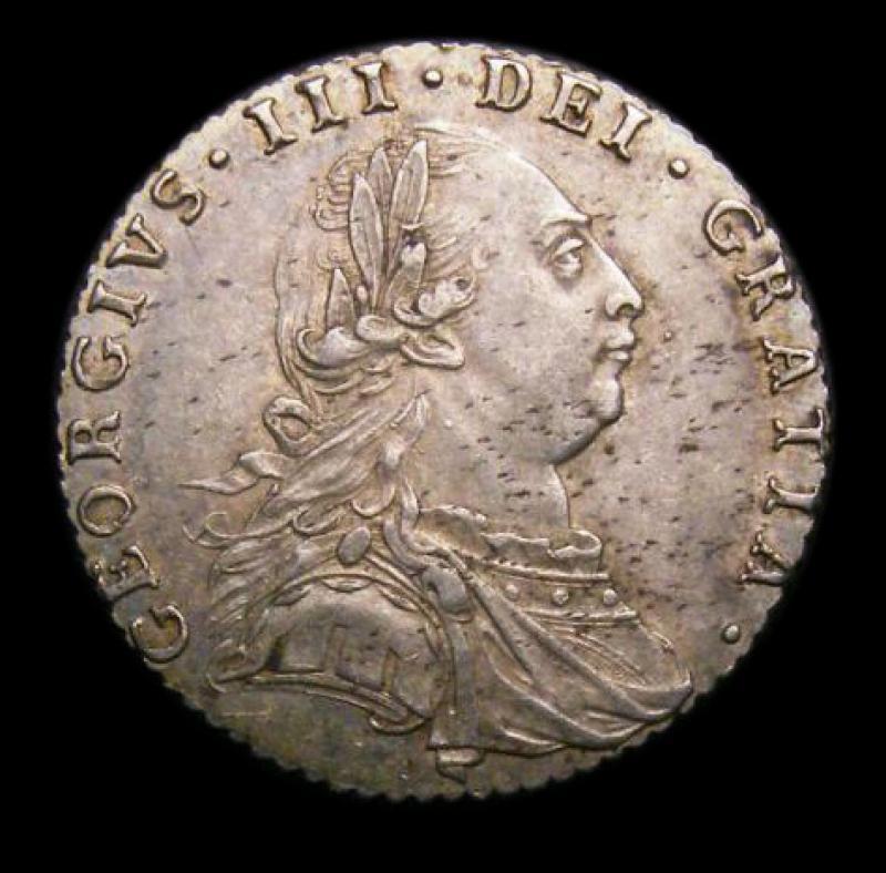 Sixpence 1787 George III. No Hearts - Obverse