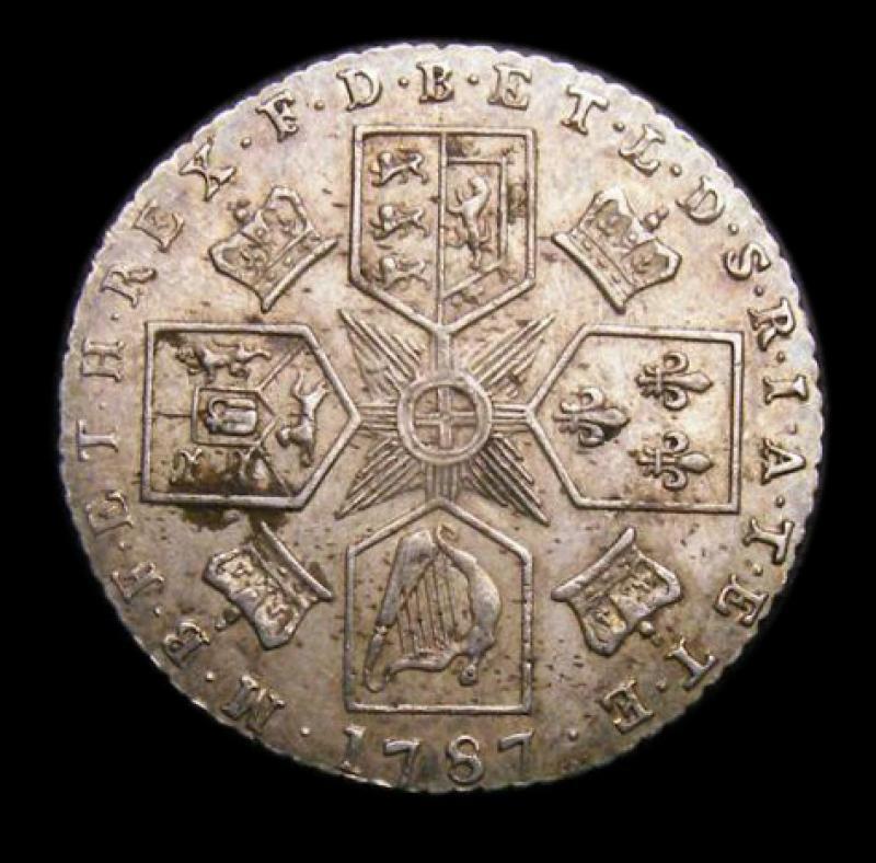 Sixpence 1787 George III. No Hearts - Reverse